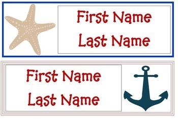 Nautical Themed Desk Tags - Editable!