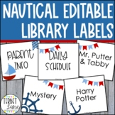 Nautical Themed Editable Book Bin Labels