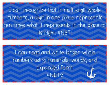 """Nautical Themed Fourth Grade """"I Can"""" Statements"""