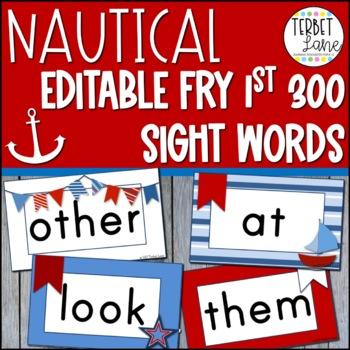 Editable Nautical Theme Fry First 300 Sight Word Cards
