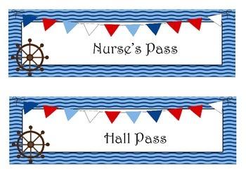 Nautical Themed Hall Passes