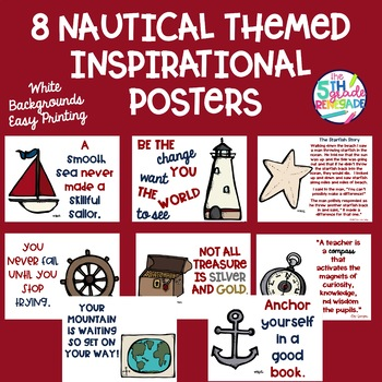 Nautical Themed Inspirational Posters ~White Background for Easy Printing~