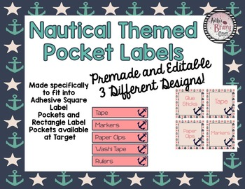Nautical Themed Labels (Fits into Adhesive Labels available at Target) EDITABLE