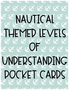 Nautical Themed Levels of Understanding Pocket Cards