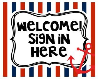 Nautical Themed Meet the Teacher/Open House Signs