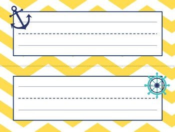 Nautical Themed Name Plates (Yellow and Navy)