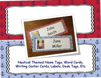 Nautical Themed - Name Tags, Word Cards, Writing Center Cards, Labels, Desk Tags