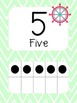 Nautical Themed Number Cards in Mint and Pink
