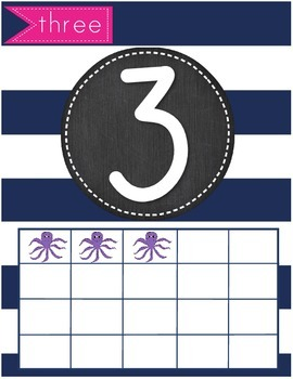 Nautical Theme Number Set 1-20 Chalkboard Theme Ocean Theme Cards Ten Frames