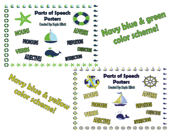 Nautical Themed Parts of Speech Posters