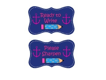 Nautical Themed Pencil Cup Labels