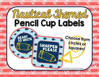 Nautical Themed Pencil Cup Labels {FREEBIE FRENZY}