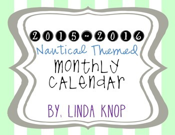 Updated 2015-2016 Nautical Themed Personal Calendar