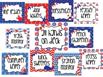 Nautical Themed Red and Blue Class Jobs