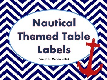 Nautical Themed Table Labels/Signs (6 different colors)