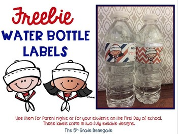Nautical Themed  Water Bottle Labels for Back to School Night or 1st Day