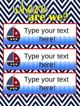 Nautical Themed Where Are We? Door Chart Editable Version