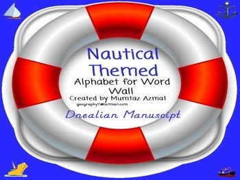 Nautical Themed Word Wall Alphabet in D Nealian Font: