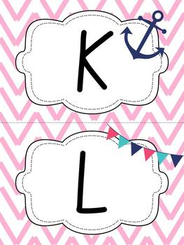 Nautical Themed Word Wall - Mint and Pink