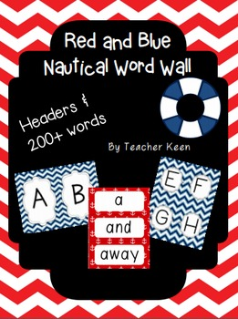 Nautical Themed Word Wall (Red and Blue)