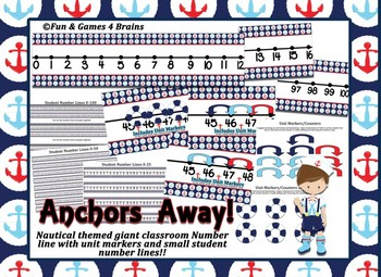 Nautical Themed giant classroom number line and student number lines