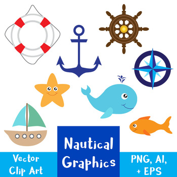Nautical Vector Clipart | Whale, Ship, Boat, Anchor, Ocean, Sea