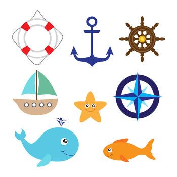 Nautical Vector Clipart | Whale, Ship, Boat, Anchor, Ocean, Sea