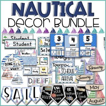Nautical Watercolor Classroom Decor Pack
