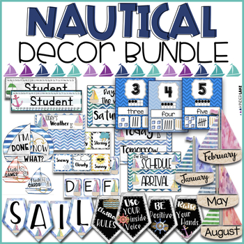 Nautical Watercolor Classroom Decor BUNDLE