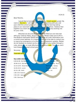 Nautical Welcome Letter - Editable