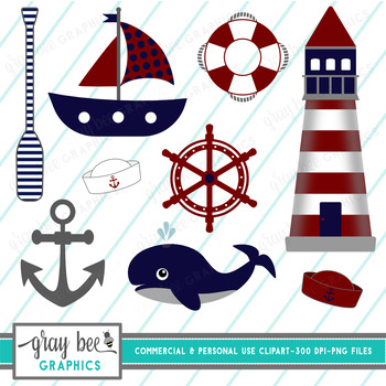 Nautical-Whale-Sailboat-Anchor Clip Art Pack