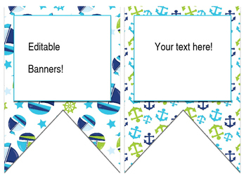 Nautical/Whales (Green,White,Blue) themed EDITABLE bulletin board banner