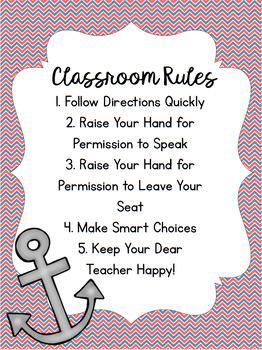 Nautical Whole Brain Teaching Class Rules Poster