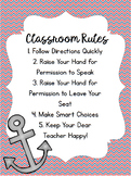 Nautical Whole Brain Teaching Class Rules Poster