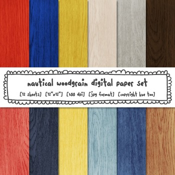 Nautical Woodgrain Digital Paper, Red, Blue, Yellow, Rustic Wood Digital Paper