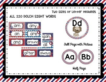 Nautical Word Wall Set with Editable File