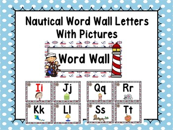 Nautical Word Wall With Pictures #3 - Editable Word Page Included