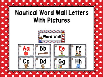 Nautical Word Wall With Pictures #2 - Editable Word Page Included