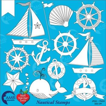 Nautical and Beach Digital Stamps, Sailboats, (Best Teacher Tools} AMB-2212