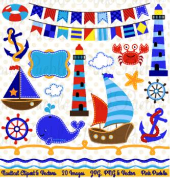 Nautical and Sailing or Sailboat Clipart Clip Art