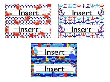 Nautical and Sea Theme Desk Name Plates {editable name tags with skills}