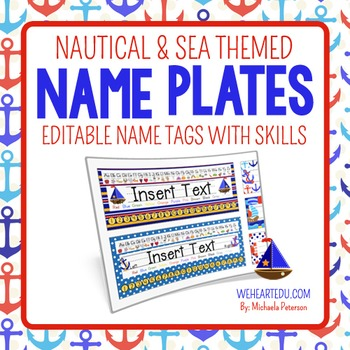 Nautical and Sea Theme Desk Name Plates {editable name tags with skills}