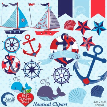 Nautical Clipart Beach and Sailboat Clipart in Reds and Blues, AMB-522