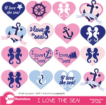 Nautical and beach clipart in pinks, Coastal cliparts in pink,  AMB-117