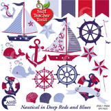 Nautical and Beach Clipart in Red and Blue, (Best Teacher