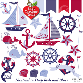 Nautical and Beach Clipart in Red and Blue, Coastal clip a