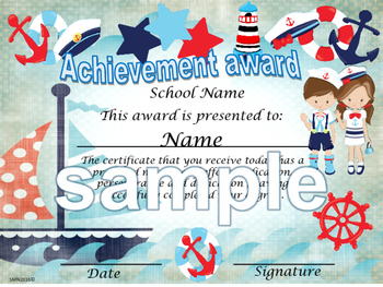 Nautical boat Background Achievement award certificate English / Spanish version