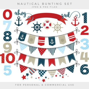 Nautical bunting clip art bunting banners flags clipart numbers