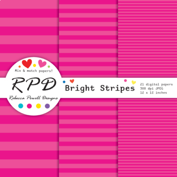 Nautical candy stripes bright rainbow colours digital paper set/ background