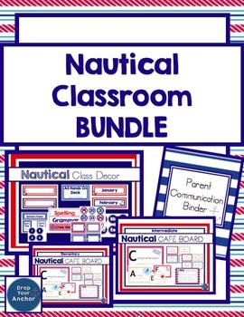 Nautical classroom BUNDLE: Decorations, Parent Communication Log, CAFE Posters
